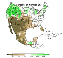 90-day precip anomalies, January 2006
