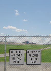 No dogs or bikes allowed.