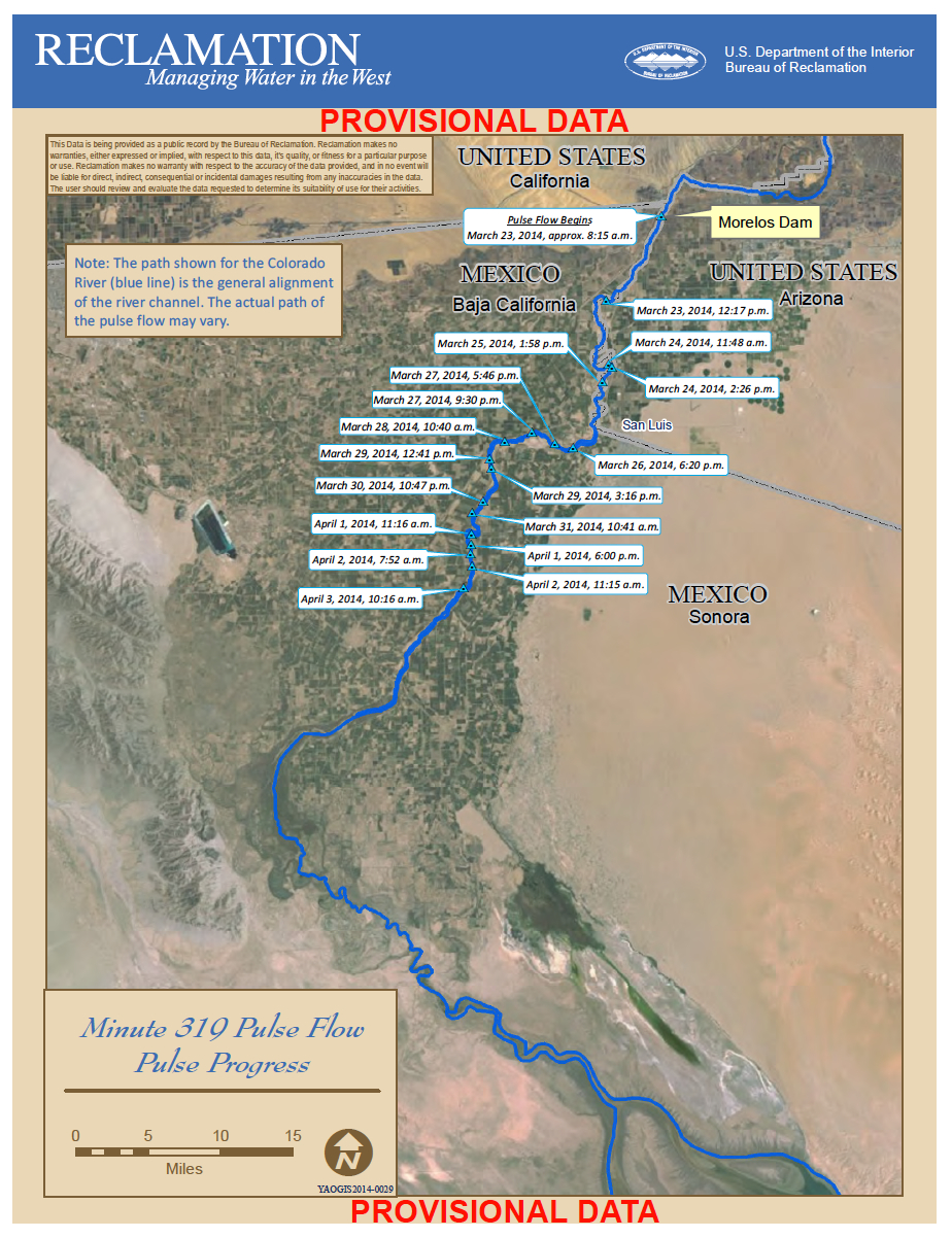 Updated Pulse Flow map as of 4/3/2013, courtesy USBR