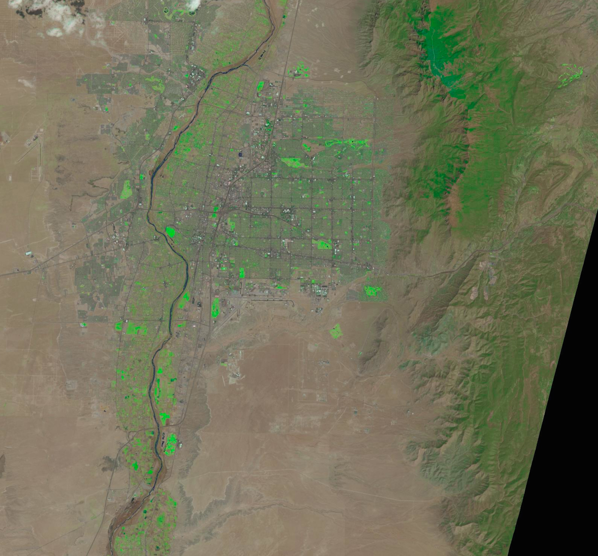 Albuquerque as seen from space, April 13, 2014, via NASA Landsat. Colors enhanced.