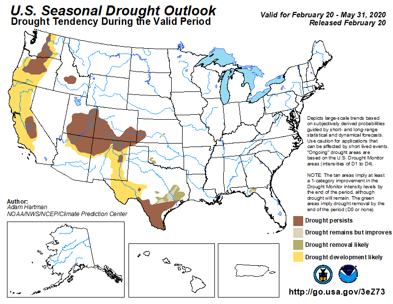 map showing expanding drought forecast for southwestern United States, issued Feb. 20, 2020