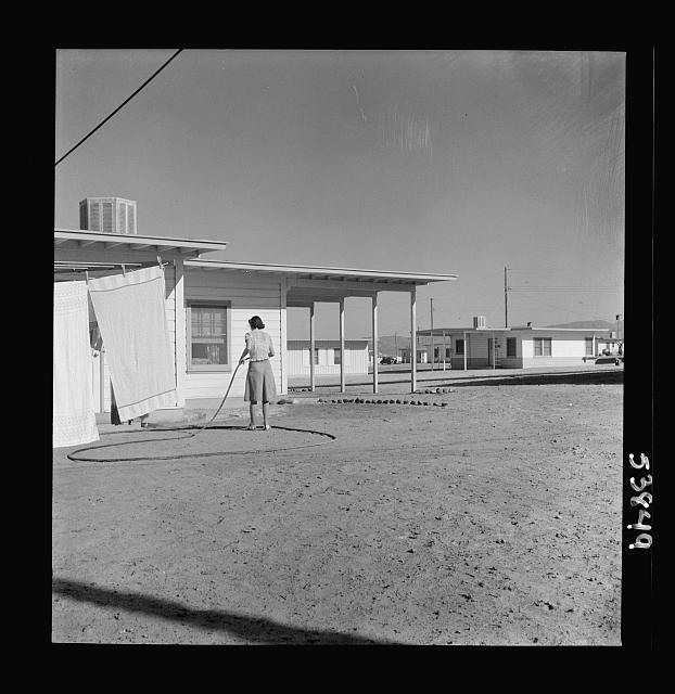 """Las Vegas, Nevada. A worker's wife watering a newly planted lawn around one of the thousand demountable houses built adjacent to the Basic Magnesium Incorporated plant in the southern Nevada desert"", Fritz Henly, December 1942, Farm Security Administration, courtesy Library of Congress"