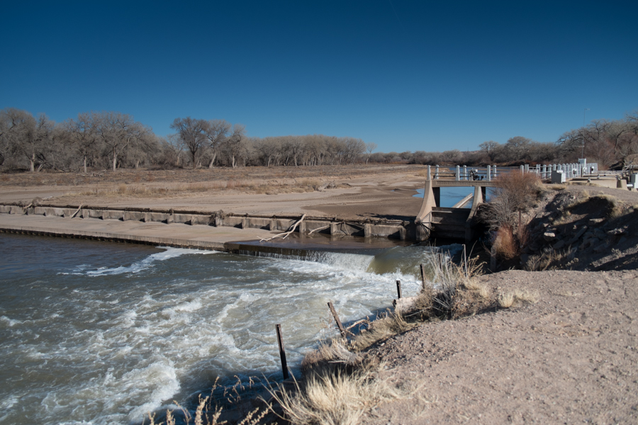 Angostura Diversion Dam, Rio Grande, Sandoval County, January 2014, John Fleck