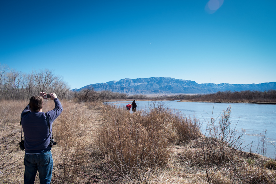 Robert Browman, Laura Paskus and Lissa Heineman along the Rio Grande, March 2014, by John Fleck