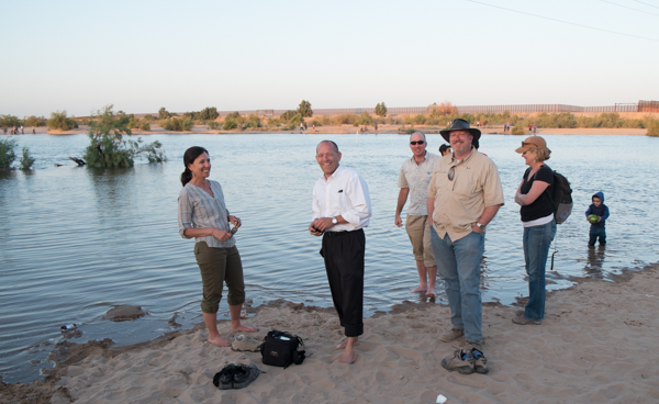 Jennifer Pitt, left, Mike Cohen (sunglasses, wading in the river) and friends on the Colorado River at San Luis, March 25, 2014, by John Fleck