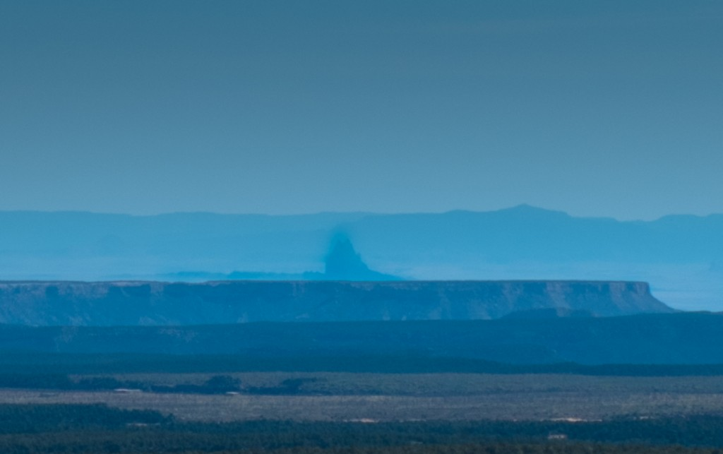 Shiprock in the distant haze, seen from Far View, Mesa Verde, May 2014, by John Fleck