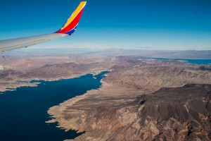 Lake Mead from the air, flying into Las Vegas