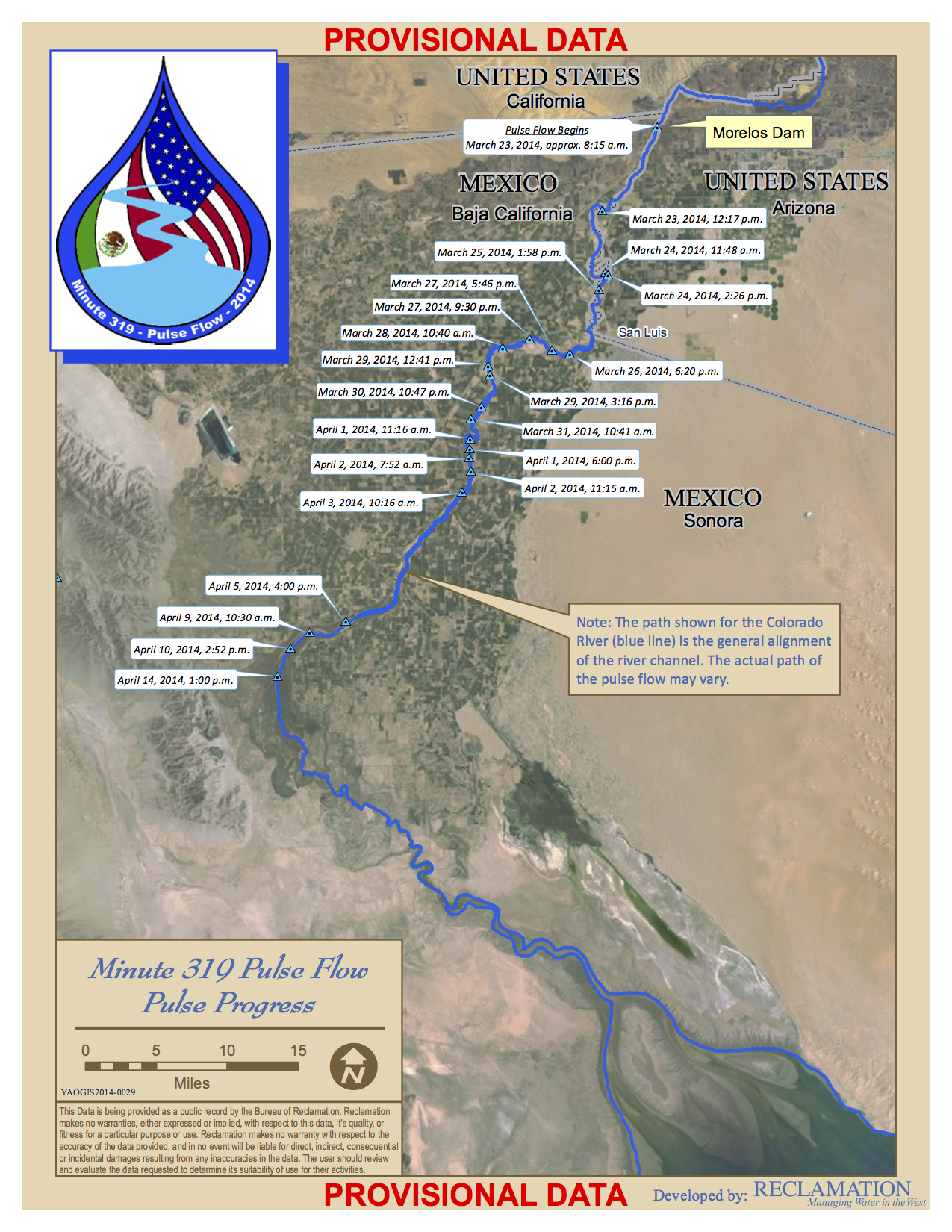 Pulse Flow Map, April 14, 2014, courtesy USBR