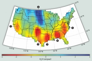 Data from the German-NASA GRACE satellites highlights groundwater depletion hotspots in the United States. CREDIT: CAROLINE DE LINAGE/UNIV. OF CALIFORNIA, IRVINE, Science magazine
