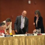 (l-r) Felicity Hannay, Amy Haas, Don Ostler, and Karen Kwon at the June 20, 2018 meeting of the Upper Colorado River Commission. It was Ostler's last meeting as UCRC executive director. Haas takes over the position July 1.