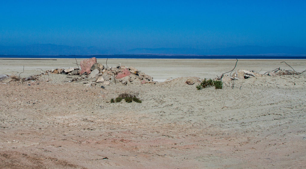 Shorline left by a shrinking Salton Sea.