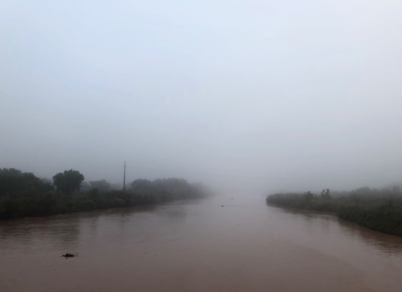 Rio Grande in the fog, Albuqueruqe, New Mexico, October 2019