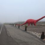 a dinosaur in the fog, Albuquerque, New Mexico