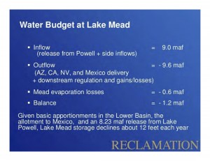 Lower Basin Water Budget, courtesy USBR