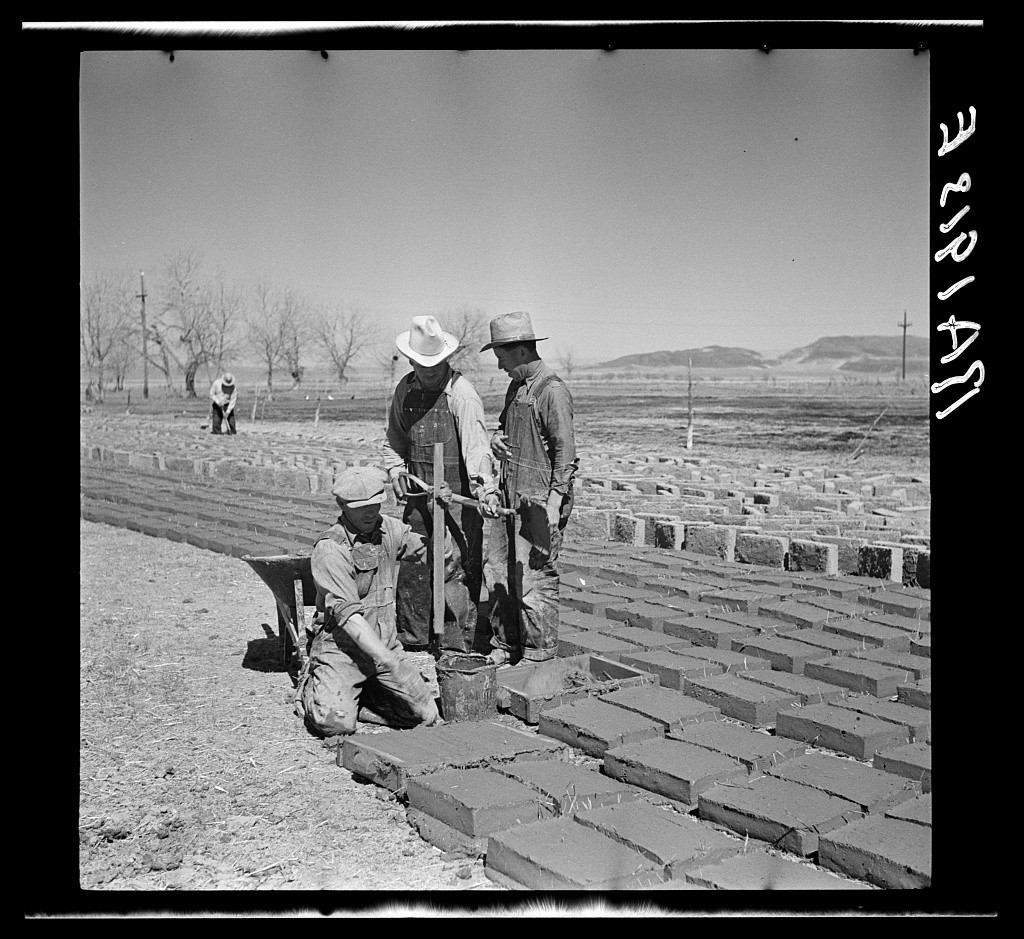 Making adobe brick. Bosque Farms, New Mexico. Arthur Rothstein, April 1936