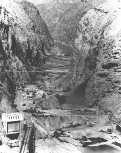 Black Canyon during construction of Hoover Dam, courtesy USBR