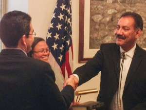 Estevan López, smiling after being sworn in as Comissioner of Reclamation