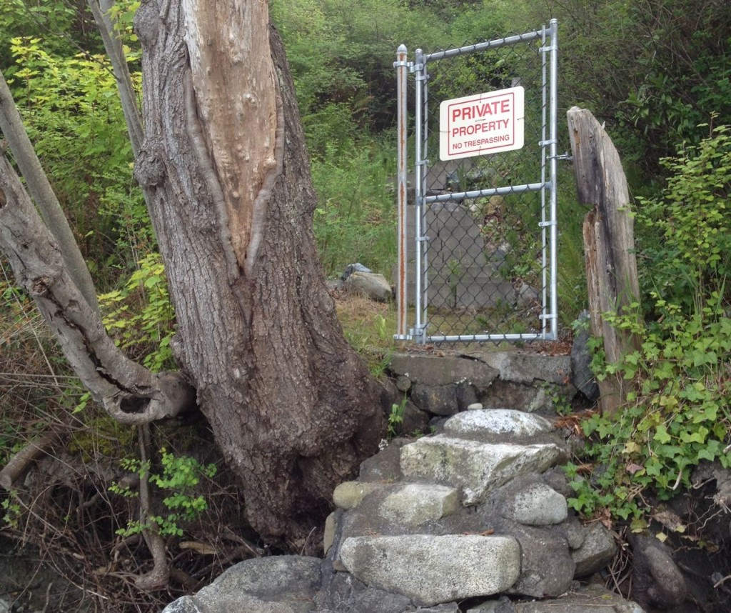 conceptual gate guarding steps from a Vancouver Island beach to a private home. by John Fleck, May 2013