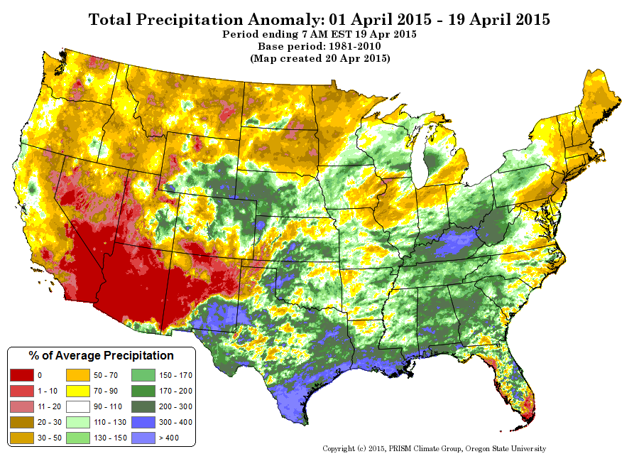 April precipitation anomalies, courtesy PRISM