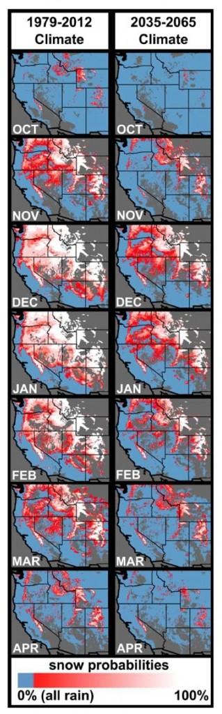 The current and future extent of the strongly rain-dominated (blue), strongly snow- dominated (white), and rain-snow mix (pink to red) areas within the western US based on wet-day mean temperature. From Klos et al., Extent of the rain-snow transition zone in the western U.S. under historic and projected climate, DOI: 10.1002/2014GL060500