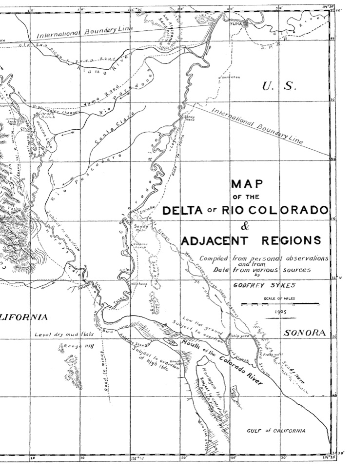 Godfrey Sykes, Map of the Colorado River Delta, 1905
