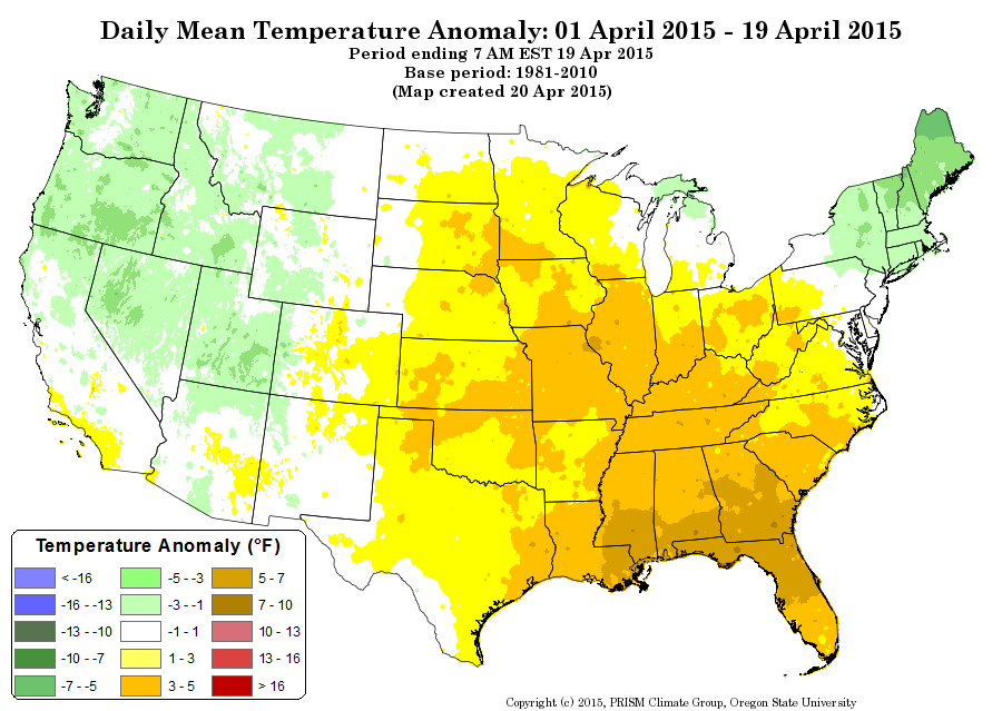 April temperature anomalies