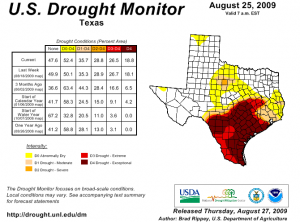 Texas conditions from Drought Monitor